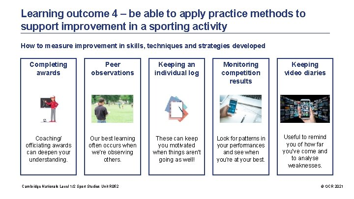 Learning outcome 4 – be able to apply practice methods to support improvement in