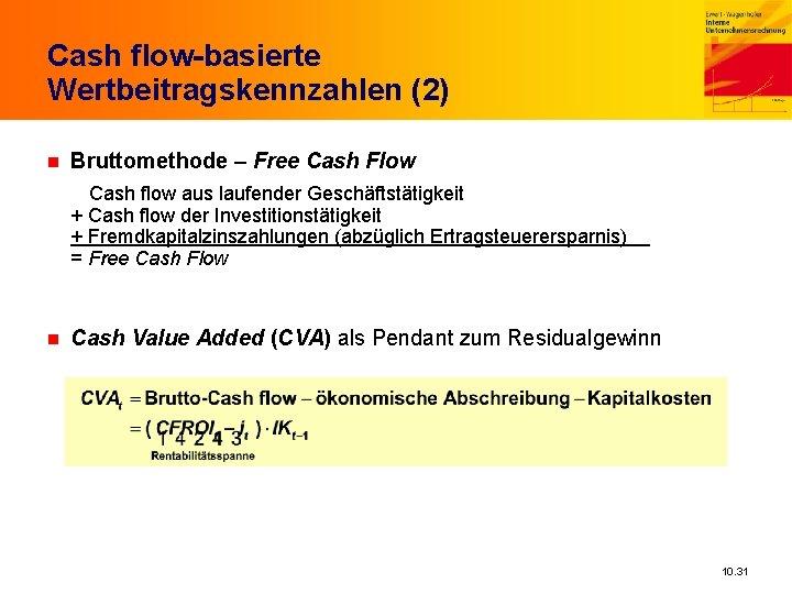 Cash flow-basierte Wertbeitragskennzahlen (2) n Bruttomethode – Free Cash Flow Cash flow aus laufender