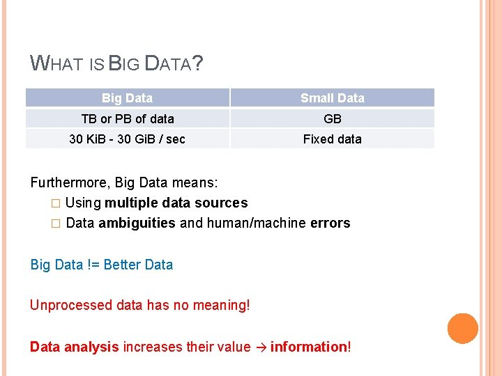 WHAT IS BIG DATA? Big Data Small Data TB or PB of data >TB,