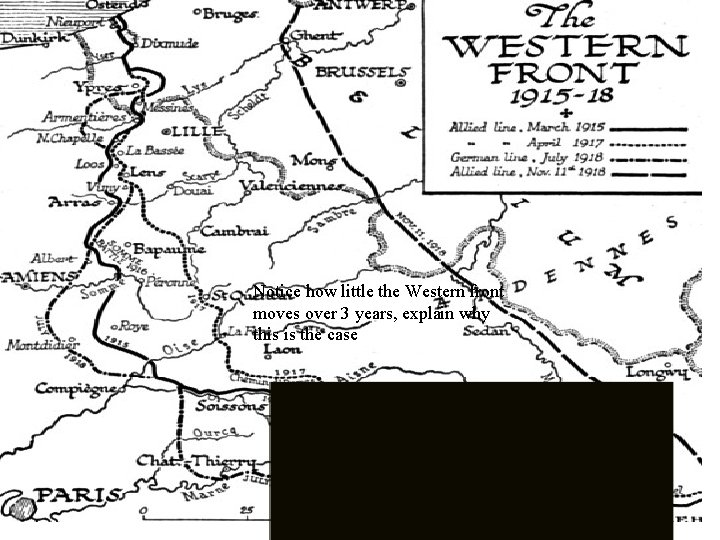 Notice how little the Western front moves over 3 years, explain why this is