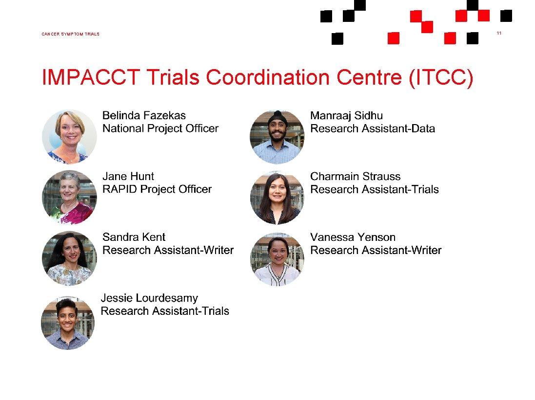 CANCER SYMPTOM TRIALS IMPACCT Trials Coordination Centre (ITCC) 11