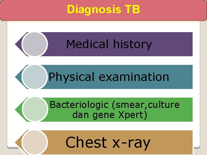 Diagnosis TB Medical history Physical examination Bacteriologic (smear, culture dan gene Xpert) Chest x-ray