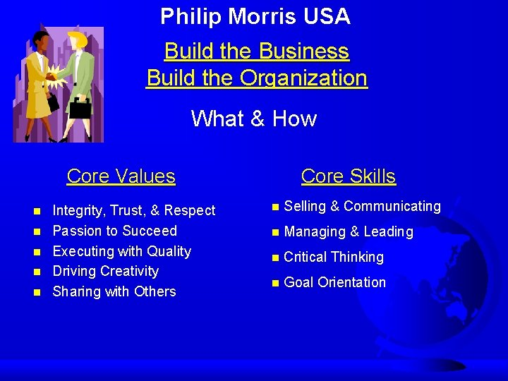 Philip Morris USA Build the Business Build the Organization What & How Core Values