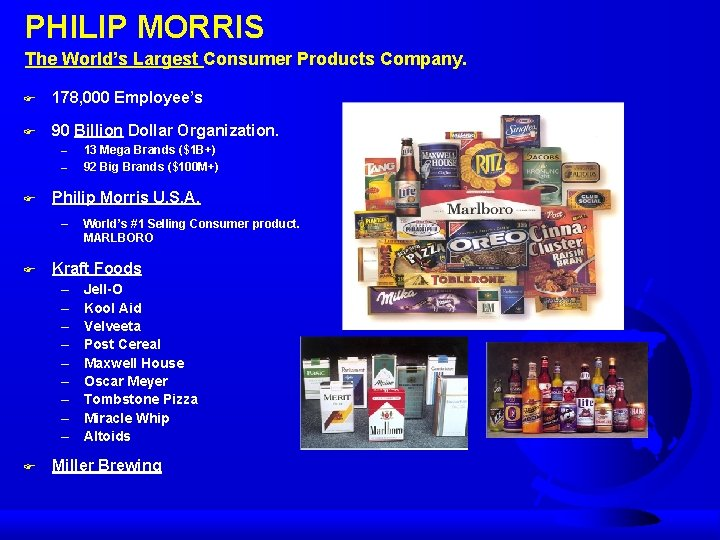 PHILIP MORRIS The World's Largest Consumer Products Company. F 178, 000 Employee's F 90