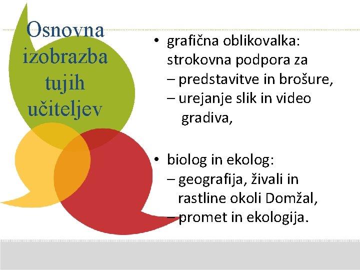 Osnovna izobrazba tujih učiteljev • grafična oblikovalka: Additional Comments strokovna podpora za here –