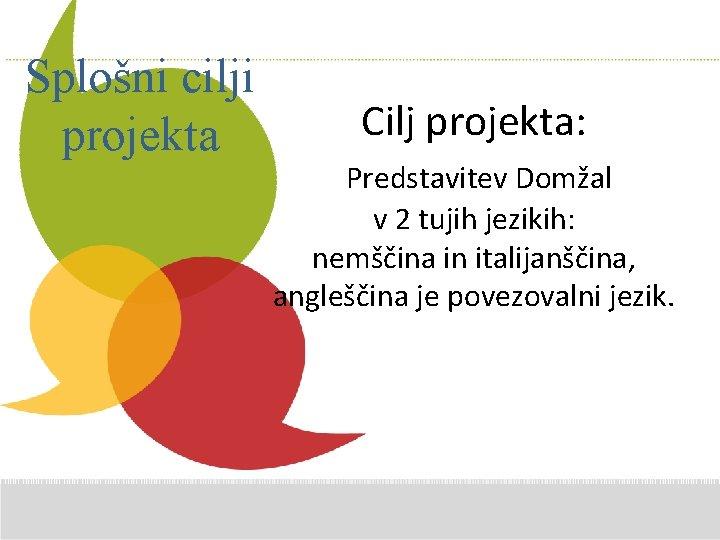 Splošni cilji projekta Additional Comments here Cilj projekta: Predstavitev Domžal v 2 tujih jezikih: