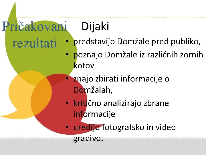 Additional Pričakovani Dijaki Comments here • predstavijo Domžale pred publiko, rezultati • poznajo Domžale