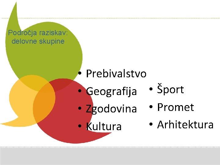 Additional Comments here Področja raziskav: delovne skupine • • Prebivalstvo Geografija • Šport Zgodovina