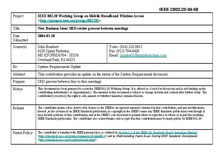 IEEE C 802. 20 -04/48 Project IEEE 802. 20 Working Group on Mobile Broadband