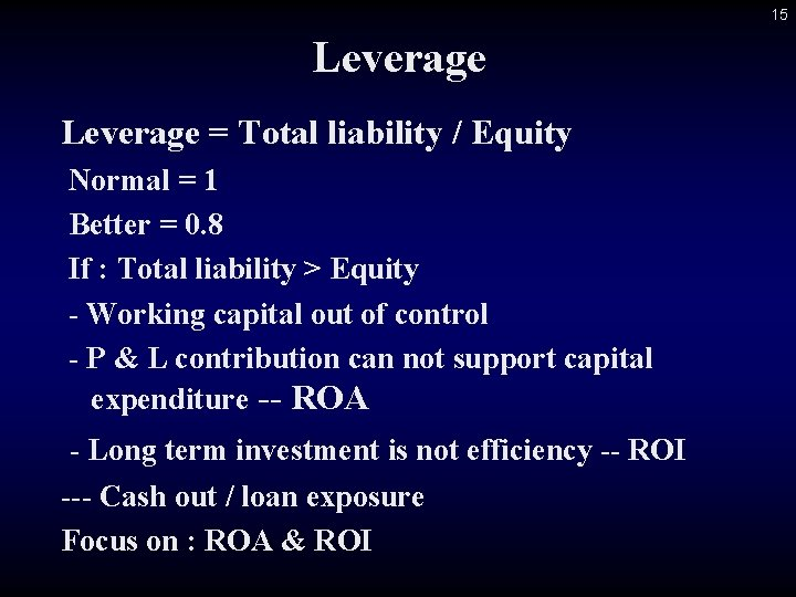 15 Leverage = Total liability / Equity Normal = 1 Better = 0. 8