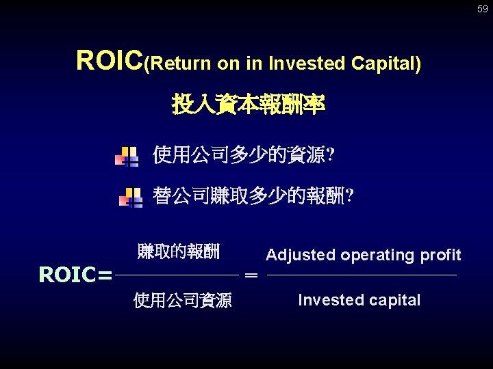 59 ROIC(Return on in Invested Capital) 投入資本報酬率 使用公司多少的資源? 替公司賺取多少的報酬? 賺取的報酬 ROIC= Adjusted operating profit