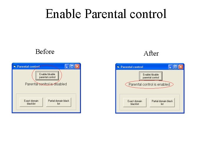 Enable Parental control Before After