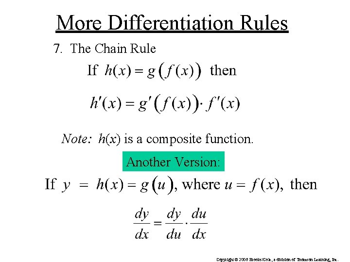More Differentiation Rules 7. The Chain Rule Note: h(x) is a composite function. Another