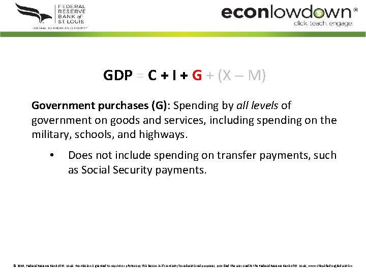 GDP = C + I + G + (X M) Government purchases (G): Spending