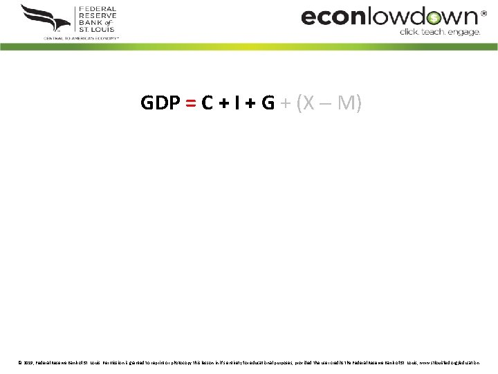 GDP = C + I + G + (X M) © 2019, Federal Reserve