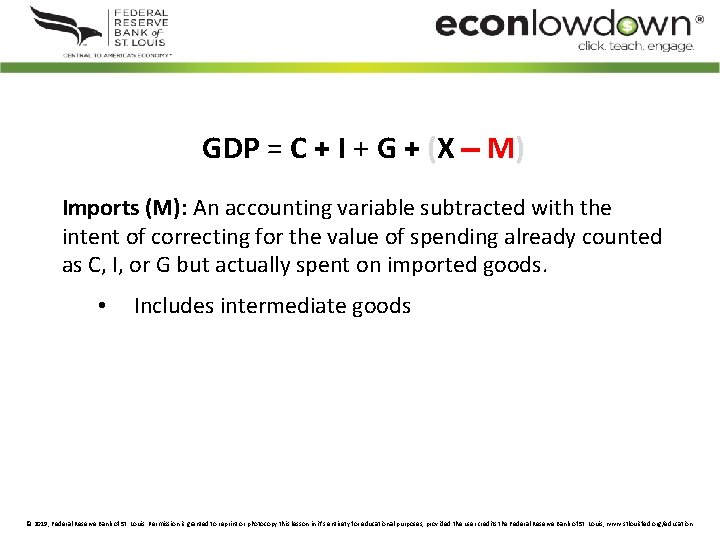 GDP = C + I + G + (X M) Imports (M): An accounting
