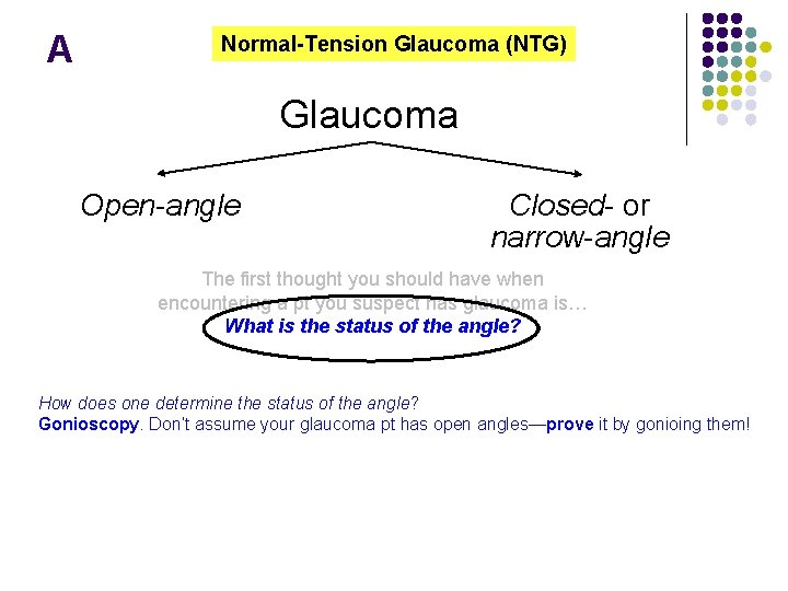 A Normal-Tension Glaucoma (NTG) Glaucoma Open-angle Closed- or narrow-angle The first thought you should