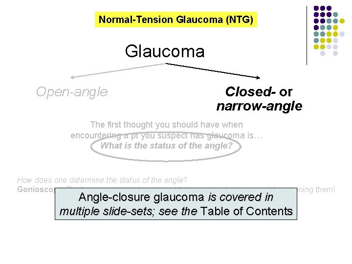 Normal-Tension Glaucoma (NTG) Glaucoma Open-angle Closed- or narrow-angle The first thought you should have
