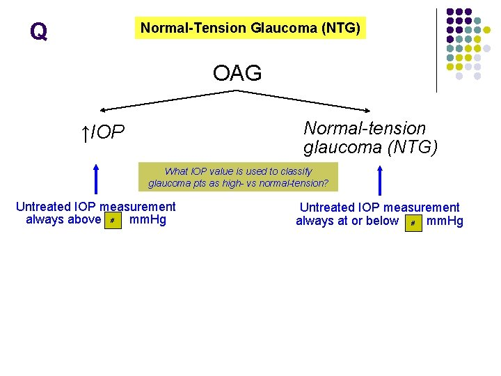 Q Normal-Tension Glaucoma (NTG) OAG Normal-tension glaucoma (NTG) ↑IOP What IOP value is used