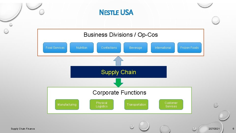 NESTLE USA Business Divisions / Op-Cos Food Services Nutrition Confections Beverage International Frozen Foods