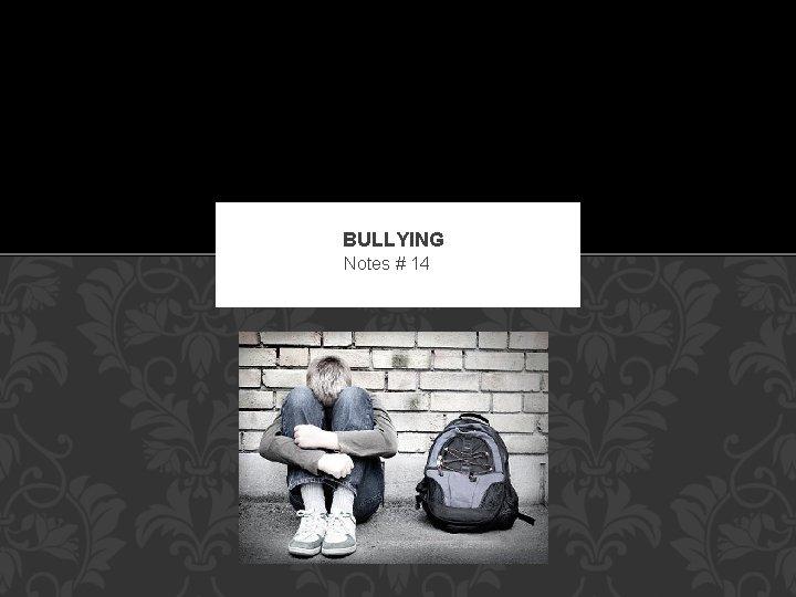BULLYING Notes # 14