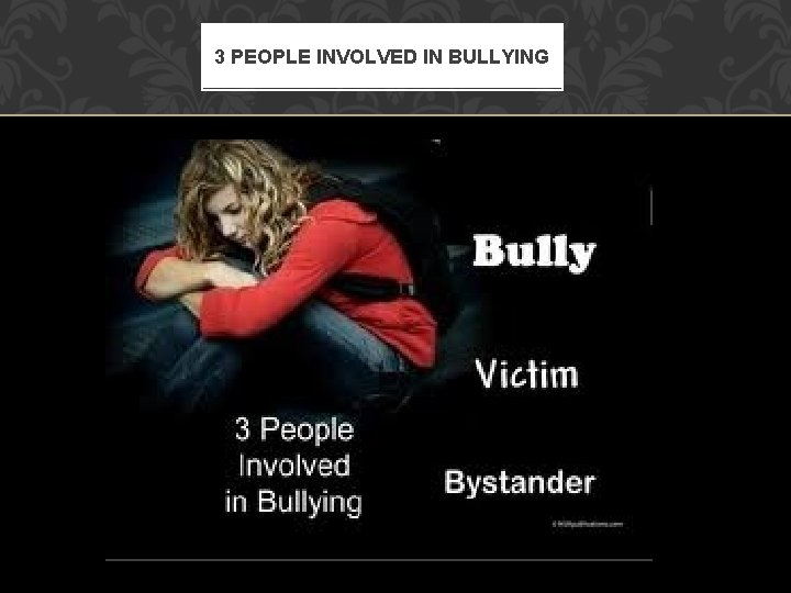 3 PEOPLE INVOLVED IN BULLYING