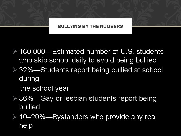 BULLYING BY THE NUMBERS Ø 160, 000—Estimated number of U. S. students who skip
