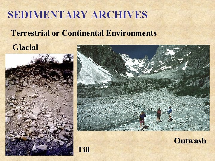 SEDIMENTARY ARCHIVES Terrestrial or Continental Environments Glacial Till Outwash