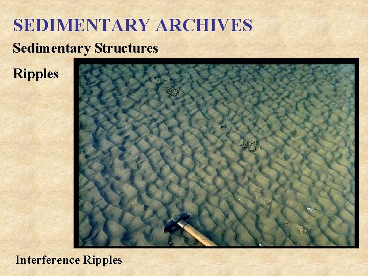 SEDIMENTARY ARCHIVES Sedimentary Structures Ripples Interference Ripples