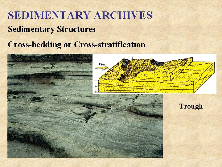 SEDIMENTARY ARCHIVES Sedimentary Structures Cross-bedding or Cross-stratification Trough