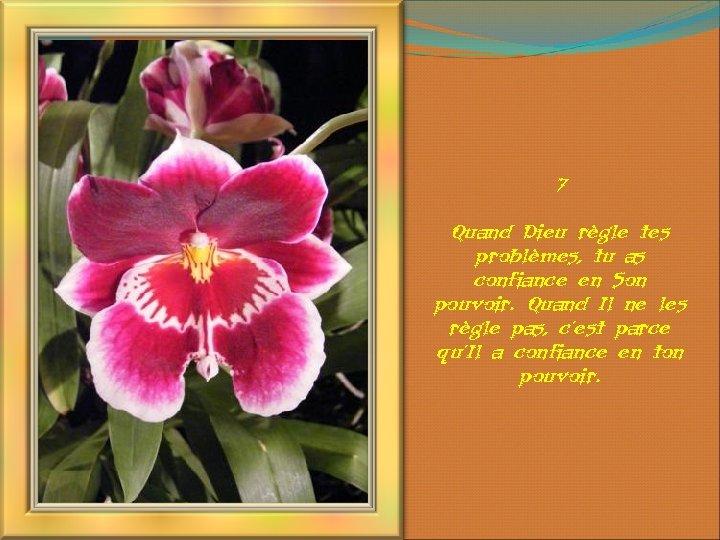 7 Quand Dieu règle tes problèmes, tu as confiance en Son pouvoir. Quand Il