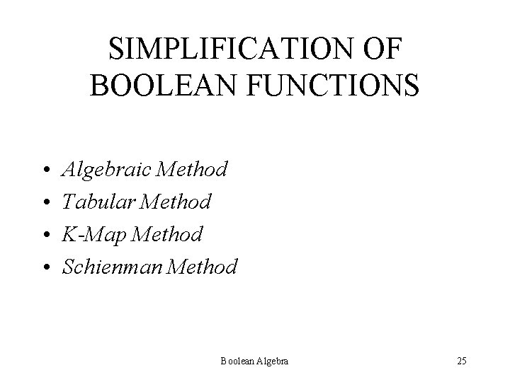 SIMPLIFICATION OF BOOLEAN FUNCTIONS • • Algebraic Method Tabular Method K-Map Method Schienman Method