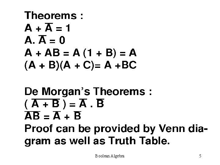 Boolean Algebra 5