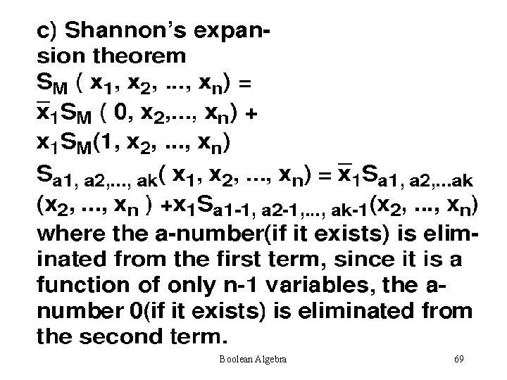 Boolean Algebra 69