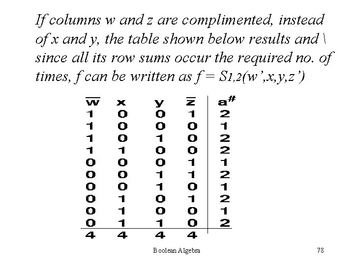 If columns w and z are complimented, instead of x and y, the table