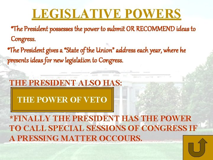 LEGISLATIVE POWERS *The President possesses the power to submit OR RECOMMEND ideas to Congress.