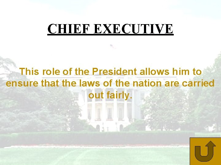 CHIEF EXECUTIVE This role of the President allows him to ensure that the laws