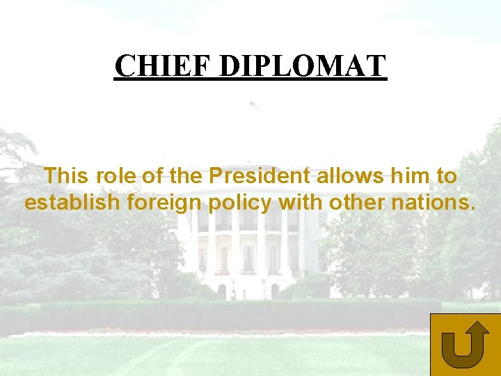 CHIEF DIPLOMAT This role of the President allows him to establish foreign policy with