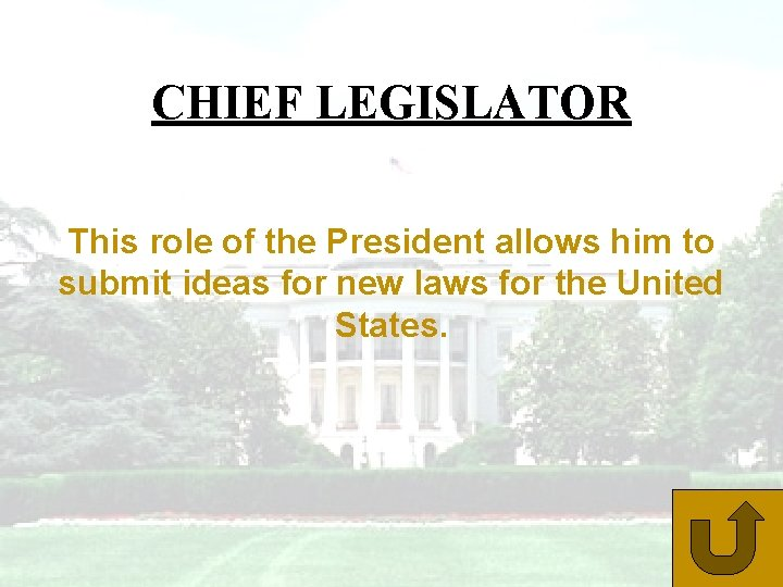 CHIEF LEGISLATOR This role of the President allows him to submit ideas for new