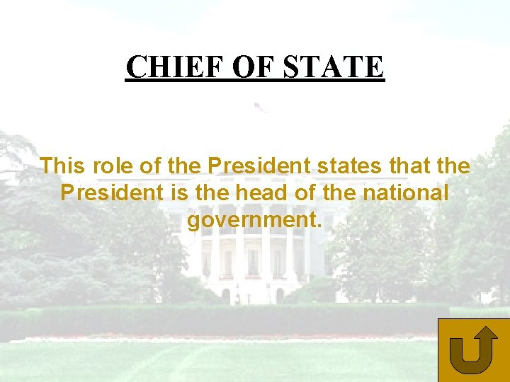 CHIEF OF STATE This role of the President states that the President is the