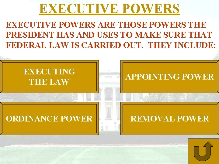 EXECUTIVE POWERS ARE THOSE POWERS THE PRESIDENT HAS AND USES TO MAKE SURE THAT