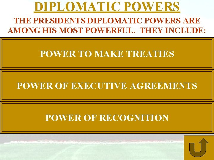 DIPLOMATIC POWERS THE PRESIDENTS DIPLOMATIC POWERS ARE AMONG HIS MOST POWERFUL. THEY INCLUDE: POWER