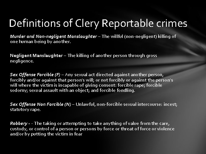 Clery forcible sex offenses definition
