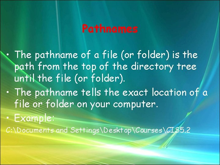 Pathnames • The pathname of a file (or folder) is the path from the
