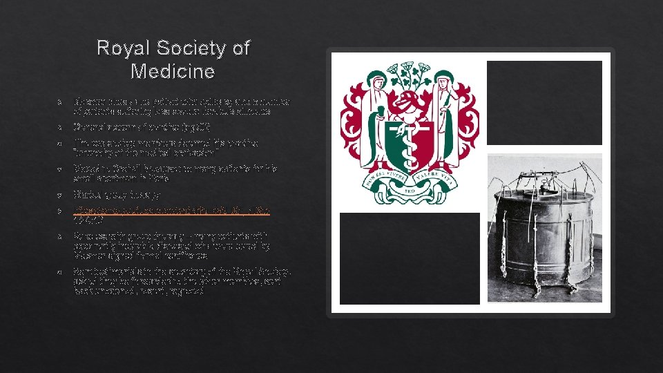 Royal Society of Medicine Mesmer chose one patient with epilepsy and a number of