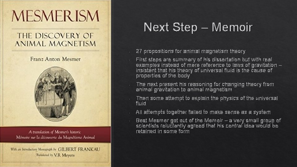 Next Step – Memoir - - 27 propositions for animal magnetism theory First steps
