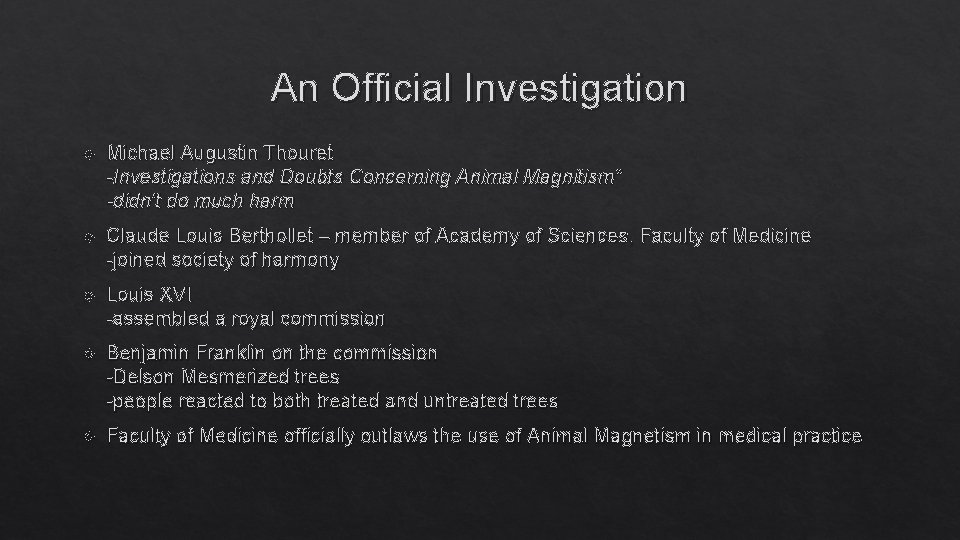 """An Official Investigation Michael Augustin Thouret -Investigations and Doubts Concerning Animal Magnitism"""" -didn't do"""
