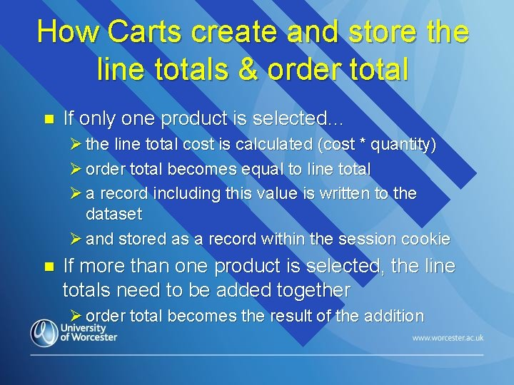 How Carts create and store the line totals & order total n If only