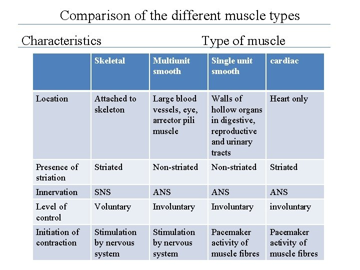 Comparison of the different muscle types Characteristics Type of muscle Skeletal Multiunit smooth Single