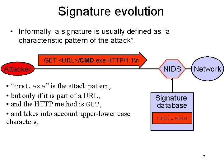 """Signature evolution • Informally, a signature is usually defined as """"a characteristic pattern of"""